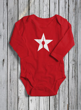 "baby long sleeve body ""star"" red"