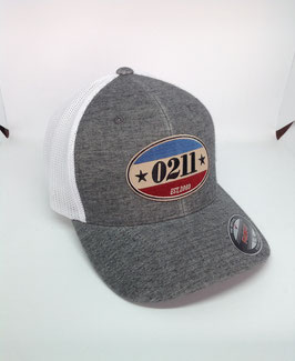 "trucker flexfit cap ""established"", grey-white"