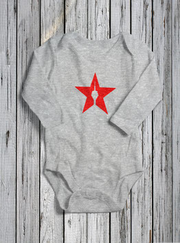 "baby long sleeve body ""star"" heather grey"