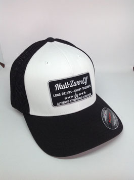 "trucker flexfit cap ""long drinks"", black-white"