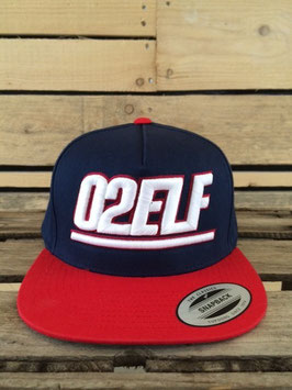 "snapback cap ""02elf"", navy-red"