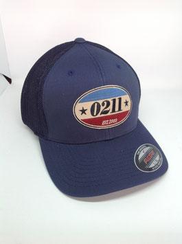 "trucker flexfit cap ""established"", navy"