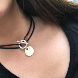 Collier Slash Médaille Argenté (P)