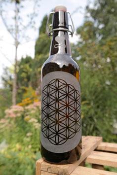 0,5 L Trinkflasche - FREIGLAS - Blume des Lebens, flower of life, Keramik-Bügelverschluß