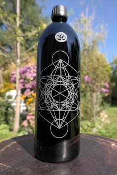1 L Flasche, Mironglas / violettglas `Metatrons Würfel´