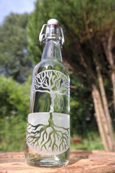 Glasflasche Baum des Lebens mit Bügelverschluss aus Porzellan, 0,5l