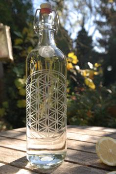 1 L Glasflasche *Blume & Samen des Lebens* mit Bügelverschluss