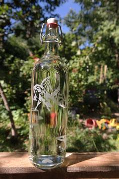 Glasflasche 1l und Bügelverschluss - Goldfische im Glas