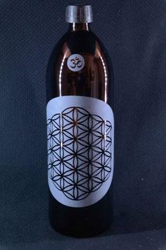 1 L Flasche, Mironglas / Violett-glas `Blume des Lebens´ V-2