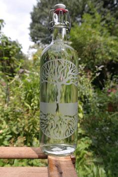 1 L , Glasflasche Baum des Lebens mit Bügelverschluss aus Porzellan