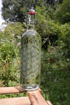 1 L Glasflasche mit der Blume des Lebens und Bügelverschluss