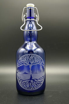0,75L blaue Glasflasche - Lebensbaum