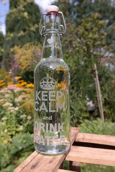 0,5 L Trinkflasche - FREIGLAS - Keep calm and drink water, Keramik-Bügelverschluß