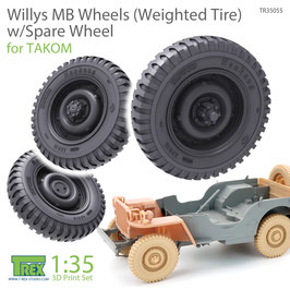 TR35055  1/35 Willys MB Wheels (Weighted Tire) w/Spare Wheel