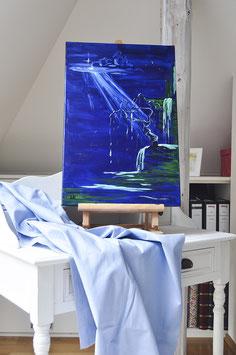 """Ölgemälde – """"Wasser Baum Mond"""""""