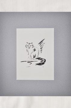 """""""Katze in schwarzweiß –  Katzenskizze"""" - Tintenzeichnung"""