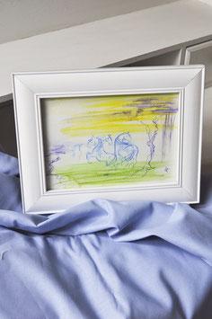 """Aquarell – """"Pferde in blau – Pferdestudie 1"""""""