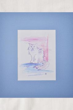 """1 Aquarell """"Katze in blaulila - Katzenstudie 2"""""""