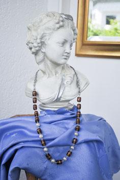 """Kette """"Perlenzauber"""" in dunkelbraun/bronze"""