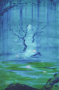 Wald Teich Sinn Licht - Ölgemälde
