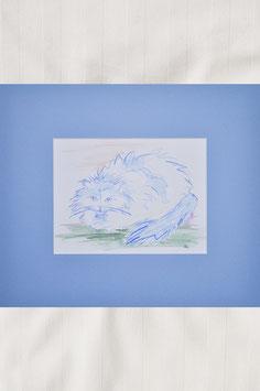 """Aquarell – """"Katze in blau – Katzenstudie 3"""""""