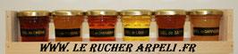 Coffret dégustation en bois 300g de miel