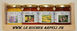 Coffret dégustation en bois 500g de miel