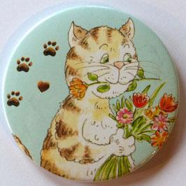 Magnet Katze mit Blumen