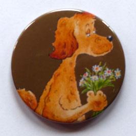 Magnet Hund mit Blümchen