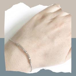 Facet white labradorite armband zilver