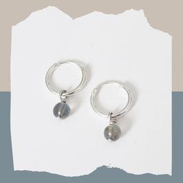 Labradorite dangling creolen zilver