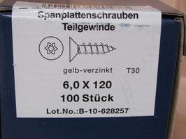 Spanplattenschraube 6x120 mm TORX Teilgewinde