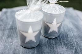 "Glaskerze - ""simply star silver"" - ideal für rustikale Tischkultur"
