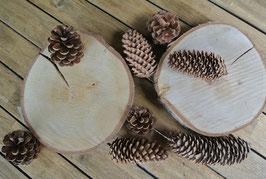 Baumscheiben aus Birkenholz - ca. 25 cm. Durchmesser, 3 cm Stärke, Tischdeko