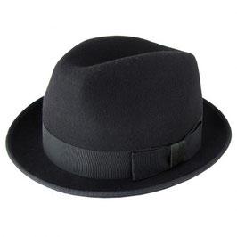 テスト:メンズ 帽子 中折れハット Mサイズ ウール ブラック MADE IN ENGLAND