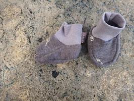 Babyschuhe Federn Grau Meliert 0-6 Monate