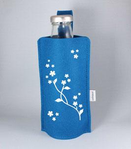 Blütenranke Glasflasche mit Filztasche