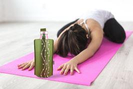 Perlenschnur Glasflasche mit Filztasche
