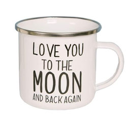 "Mug émail ""LOVE YOU TO THE MOON"""