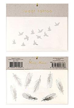 Tatoos Plumes & Oiseaux Argent