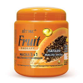 Маска 3 в 1 восстанавливающая для сухих и поврежденных волос «Папайя, масло амлы», Fruit therapy,  450мл.