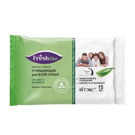 Влажные салфетки очищающие для всей семьи сок алоэ + витамин Е, Fresh Like, 15шт