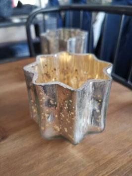 Teelichthalter Stern gold/silber
