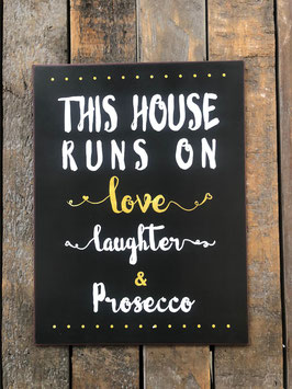 Blech-Schild love, laughter & Prosecco