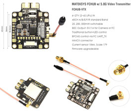 Matek Systems FCHUB-VTX 6~27V PDB 5V/1A BEC w/ 5.8G 40CH 25/200/500mW Switchable  Video Transmitter