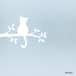 Fenstersticker Katze auf Ast