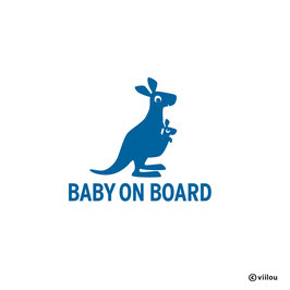 BABY ON BOARD Sticker Känguru mit Kind