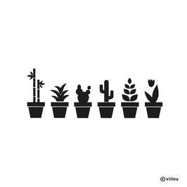 Wandsticker Blumentöpfe mit Pflanzen / Kakteen