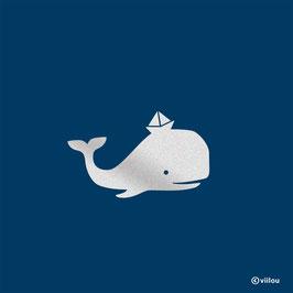 Reflektor Bügelbild Wal
