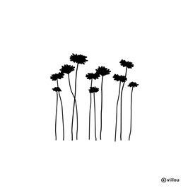 Wandsticker Blumen Silhouetten